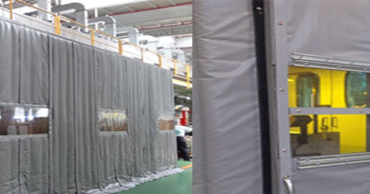 Outdoor noise reducing curtains sound barrier pyrotek - Exterior noise barrier materials ...